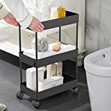 AOJIA Slim Storage Cart, 3 Tier Bathroom Organizers Slide Out Storage...