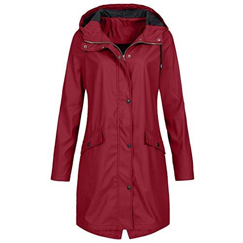Pianshanzi Chubasquero para mujer, ligero, impermeable, transpirable, cortavientos, impermeable, con capucha, chaqueta softshell, cortavientos, resistente al agua y al viento., rojo, XL