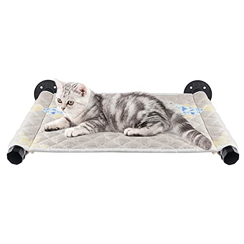 Metal Cat Hammock Wall Mounted Large Wall Cats Bed Shelf and Perch Heavy Duty Soft Cushion Beds Pet Kitty Furniture for Sleeping, Lounging, Playing, Space Saving, 13.4 x 22.4 Inch