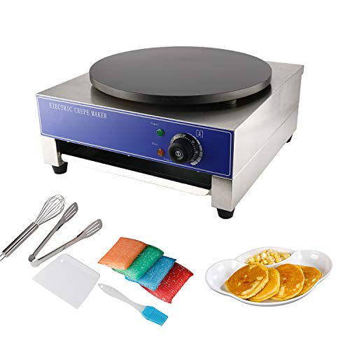 HYDDNice 15.7' Commercial Crepe Maker 1.8KW Electric Crepe Maker Machine Hot Plate Cooktop Pancake Baker Temperature adjustable 50-300℃ (122-572℉)