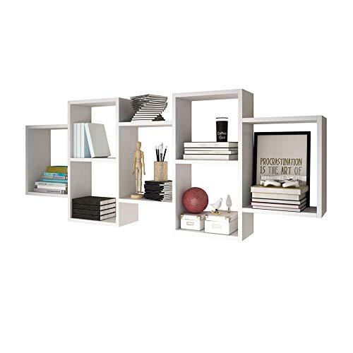 Selsey Kassi Estante de Pared para Libros con 7 Compartimentos en Blanco Mate 160, 5X65 cm