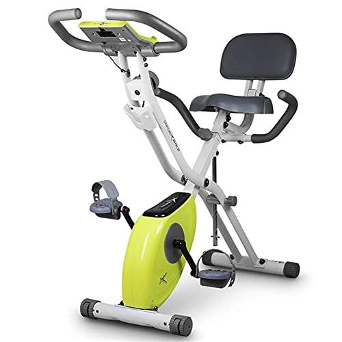 LLKK Bicicleta estática de fitness, bicicleta plegable F-Bike, bicicleta de interior en casa, bicicleta de fitness con resistencia magnética ajustable y bandas de entrenamiento de brazo