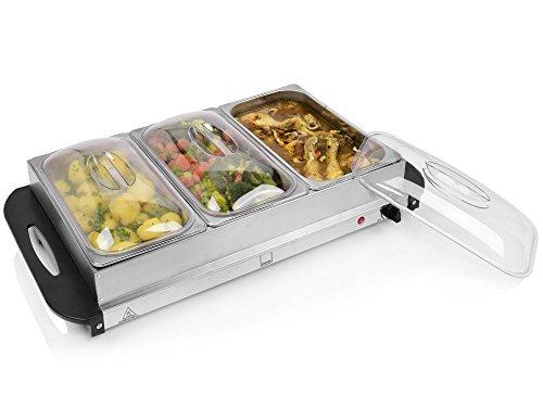 Sänger Buffetwärmer 300 W aus Edelstahl | Speisewärmer mit 3 Kammern á 2,4 L | elektrische Warmhalteplatte mit stufenloser Temperatureinstellung