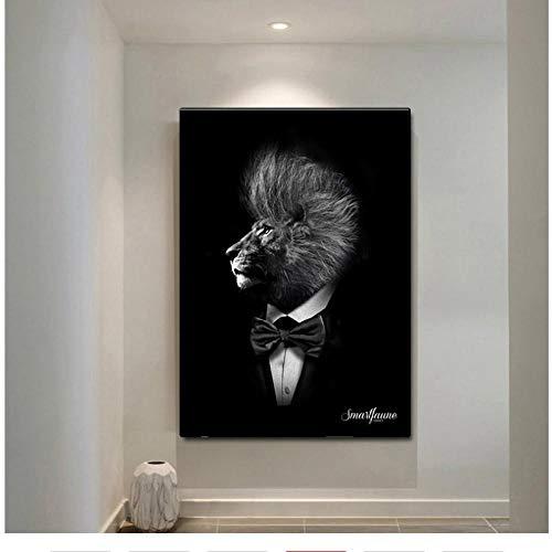 HDKSA Nordic Animal Gentleman Löwe Wandkunst Leinwanddrucke Malerei Schwarz Klassisches Poster Bild Für Wohnzimmer Büro Home Decor-50 * 60cm ungerahmt