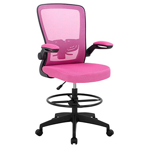 Drafting Chair Tall Office Chair Adjustable Height with Lumbar Support Arms Footrest Mid Back Standing Desk Chair Swivel Rolling Mesh Computer Chair Standing Desk Drafting Stool