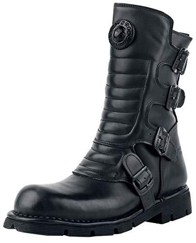 New Rock Crust Black Männer Stiefel schwarz EU47 Leder Biker, Gothic, Industrial, Rockwear