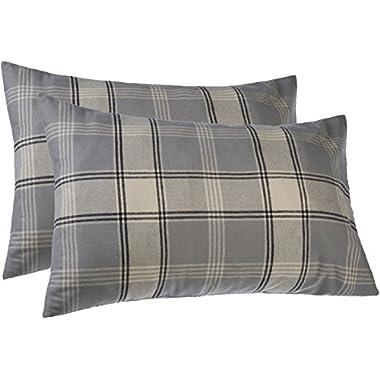 Pinzon 160 Gram Plaid Flannel Pillowcases – Standard, Grey Plaid