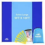 8. Famiry Sand Free Beach Blanket, Extra Large 10 x 9 Feet Size, Durable & Compact Beach Outdoor Mat, Includes 6 Stakes, 4 Sand Pockets & Zippered Pocket
