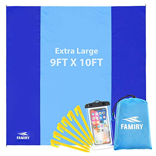 Famiry Sand Free Beach Blanket, Extra Large 10 x 9 Feet Size, Durable & Compact Beach Outdoor Mat,...