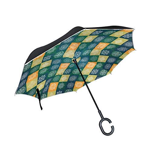 SKYDA Paraguas Plegable de Doble Capa con diseño de Mandala Invertida, Resistente al Viento, para Coche, Lluvia, al Aire Libre, con Mango en Forma de C