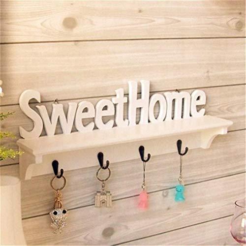 Estantes de almacenamiento para colgar en la pared, con texto en inglés 'Sweet Home Words' y con diseño de sombrero, para colgar en casa, 1 unidad, 4 ganchos