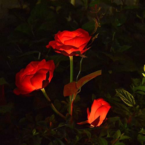 QULONG Solar Lights Outdoor Garden Lights, Pink Rose Solar Flower Lights Garden Decoration, Waterproof Garden Solar Lighting Stake for Christmas Garden Backyard Patio Grave Porch