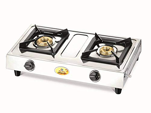 Bajaj Popular Eco Stainless Steel 2 Burner Gas Stove (Silver)