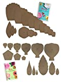 Paper Flower Template Kit Peony and Rose (4 Styles Rose, 2 Peony, Daffodil, Poppy 1'-18')