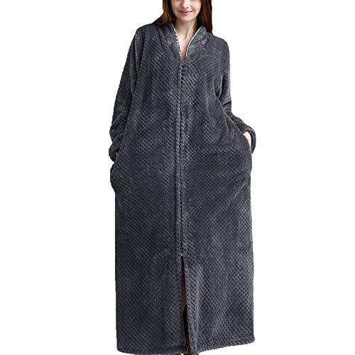 LLSS Bata de Lana de Invierno para Mujer, Bata de baño Larga Suelta con Cremallera de Manga Larga, Pijama con Bolsillos