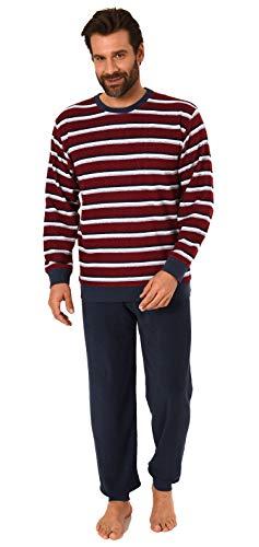Eleganter Herren Frottee Pyjama Schlafanzug mit Bündchen - Streifenoptik - 291 101 13 787, Größe2:52, Farbe:rot