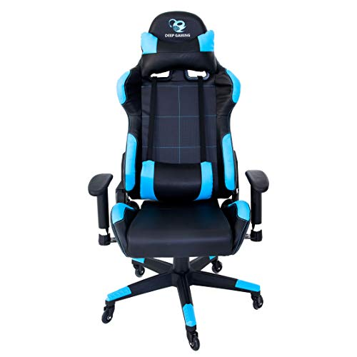CoolBox DeepComand – Silla gaming ergonomica profesional para e-sports, tejido de polipiel PU, reclinable, tecnologia Air Effect, ruedas Surface protect. Colores Azul y negro