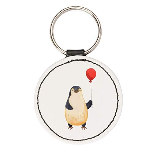 Mr. & Mrs. Panda Taschenanhänger, Glücksbringer, Rund Schlüsselanhänger Pinguin Luftballon - Farbe Weiß