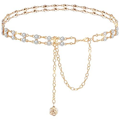 Lamdgbway - Cadena de metal con cristales de doble fila para el cuerpo, cadena de cinturón, joyas para mujer y niña, vestido, dorado, M (120 cm/47.2in)