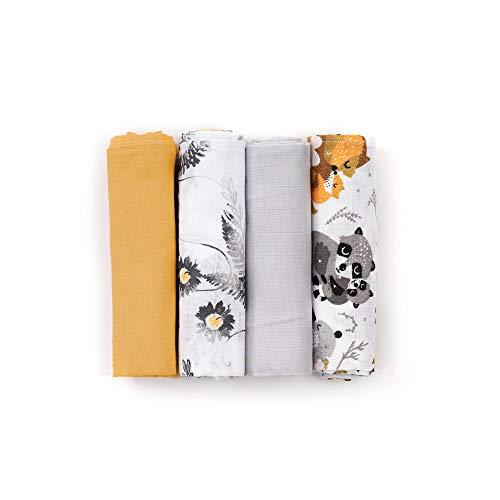 HappyMess - Premium Musselin Swaddle - 4er-Set 80 x 80 cm, 100% Baumwolle, Babytücher, Öko-Tex - gelb/schwarz/panda(80x80)