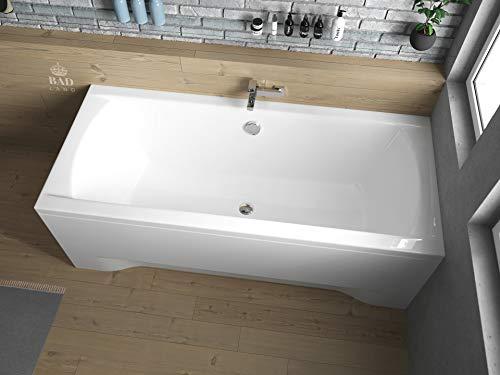 BADLAND Rechteck Badewanne Acryl Ines 190x90 mit Acrylschürze, Füßen und Ablaufgarnitur GRATIS