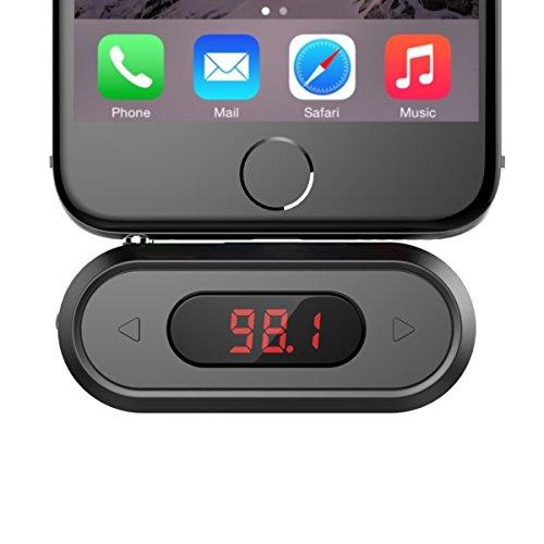 Transmisor FM, Doosl Reproductor MP3 Coche, Adaptador de Radio, FM Transmitter de 3.5mm universal Mini Manos Libres Emisor, Radio Adaptador y Reproductor de MP3 para Móviles, Tablet, etc-Negro
