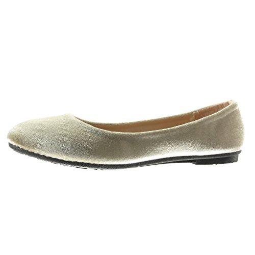 Angkorly - Damen Schuhe Ballerina - Slip-On Flache Ferse 1 cm - Khaki 883-85 T 37