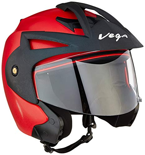 Vega Crux Open Face Helmet (Red, Medium)