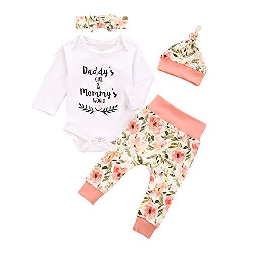 Baby Jungen Mädchen Kleidung 3 Stück Outfits Strampler Shorts Stirnband für Papa und Mama Gr. 18-24 Monate, White-C