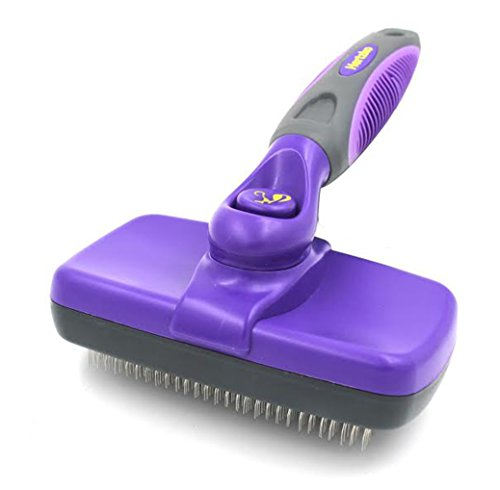 Hertzko Self Cleaning Slicker Brush – Gently Removes Loose Undercoat Mats and Tangled Hair – Your Dog or Cat Will Love Being Brushed with The Grooming Brush