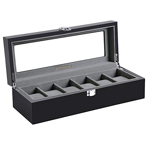 SONGMICS 6-Slot Watch Box, Glass Topped Watch Display Storage Case as Gift, with Velvet Lining, Cushions, and Lock, Black UJWB06BK