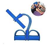 F&W 4 Tubos de Látex Natural Cuerda Elástica para Sentarse - Banda de Resistencia de Pedal para Abdomen/Cintura/Brazo/Entrenamiento de Estiramiento de Yoga para Adelgazar (Azul)