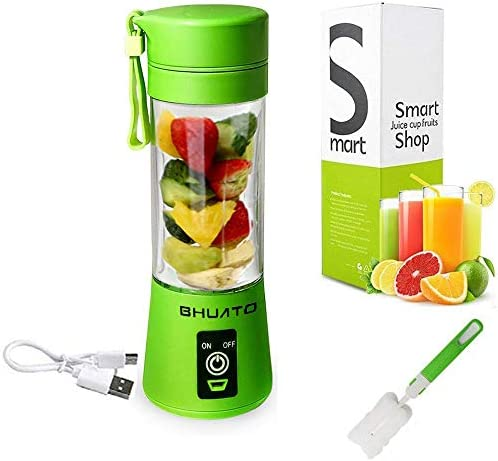 [Upgraded Version] USB Juicer Cup by BHUATO, Portable Juice Blender, Household Fruit Mixer – Six Blades in 3D, 380ml Fruit Mixing Machine for Superb Mixing (Green)…