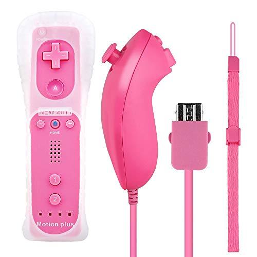Control Hokyzam Remote Plus para Wii / Wii U, Wii Motion Plus Remote con funda de silicona y correa para la muñeca - Rosa