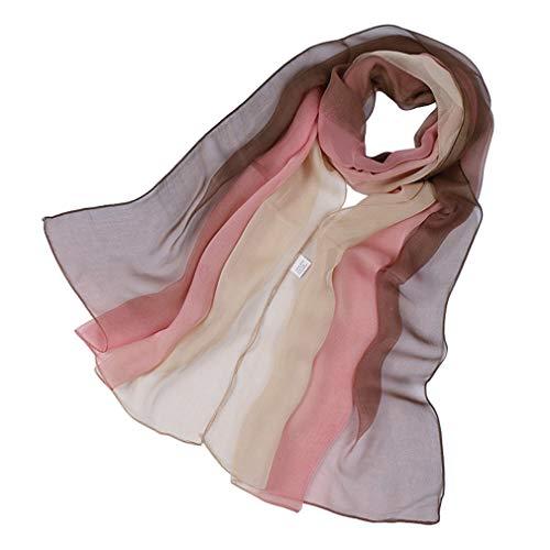 KAVINGKALY Sciarpa di seta Ombre Blend Ombre leggera Sciarpe di Gradiente leggera oblunga (Brown e Nude