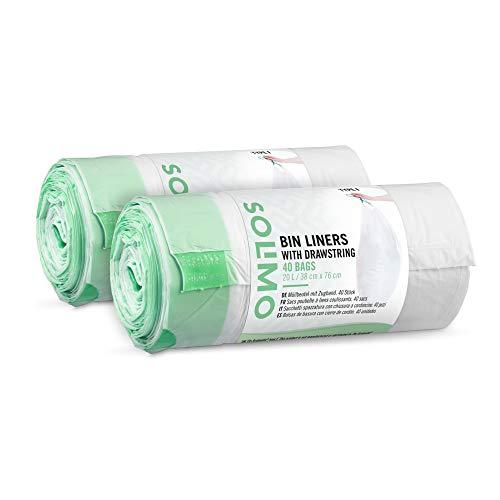 Marca Amazon - Solimo Bolsas de Basura con Cierre de Cordón Compatible con Cubos de Basura Brabantia Tipo F, 20 litros, (2 x 40 uds.)