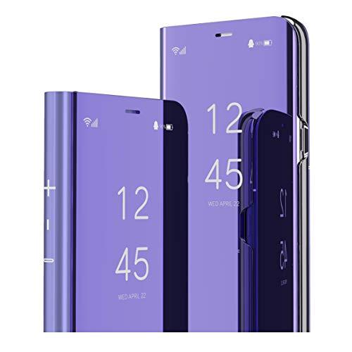 MRSTER LG Velvet 5G Hülle Clear View Standing Cover, Spiegel Handyhülle Schutzhülle Flip Hülle Schutz Tasche mit Standfunktion 360 Grad hülle für LG Velvet 5G. Flip Mirror: Purple