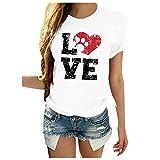 Dosoop Women Summer Casual Letter Print Crewneck Short Sleeve Tees Heart-Shaped Dog Footprint Graphic T Shirts Top Blouse