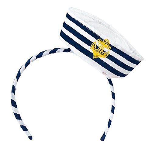Boland 44356 - Tiara Navy Sailor, Haarreif, Matrose, Seemann, Seefahrer, Marine, Accessoire, Haarreif, Kopfbedeckung, Kostüm, Mottoparty, Karneval