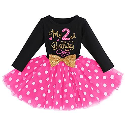 FYMNSI Vestido de manga larga para bebé, para niña, vestido de manga larga, vestido de tul, vestido de princesa, vestido de fiesta para sesión de fotos Negro + rosa - 2º cumpleaños 2 Años