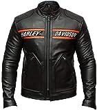 DeColure Goldberg Harley Davidson - Giacca da Motociclista da Uomo, in Finta Pelle e Vera Pelle Nero Large