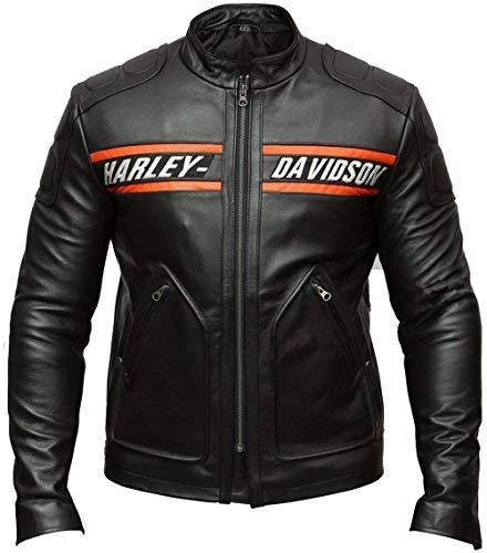 DeColure, Giacca da motociclista da uomo Goldberg Harley Davidson, in pelle sintetica e vera pelle Nero L