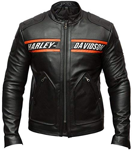 DeColure Goldberg Harley Davidson - Chaqueta de piel sintética y auténtica para hombre - XL