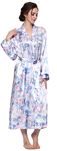 Lavenderi Women's Long Classic Satin Kimono Lounge Bathrobe Robe (Medium, Blue Floral Print)