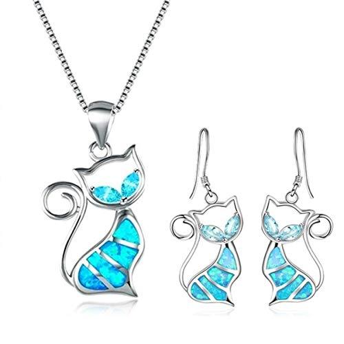 Dragonface Nette Katze Blauer Feuer-Opal-Ohrring Trendy Kristalltier hängender Tropfen-Ohrring für Frauen Schöner Schmuck (1-Set)