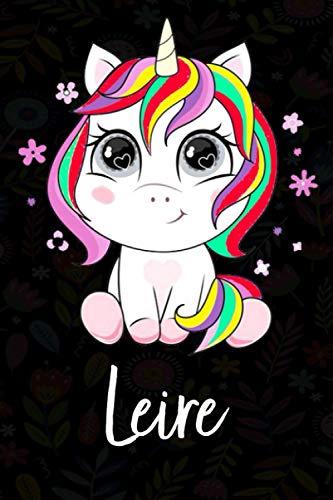 Leire: Cuaderno de notas unicornio para niña con nombre personalizado Leire, cuaderno unicornio , perfecto regalo de cumpleaños y navidad o San Valentíno ,110 paginas, Cubierta negra brillante