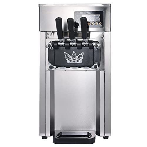 Commercial Ice Cream Machine 1200W 4.75Gal/H Stainless Steel Ice Cream Maker Auto Clean 3 Flavors for Restaurants Dessert Shops, Coffee Shops, Milk Tea Shops