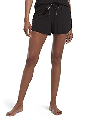 HUE Women's SleepWell with TempTech Boxer Pajama Sleep Short, Black, Large by HUE