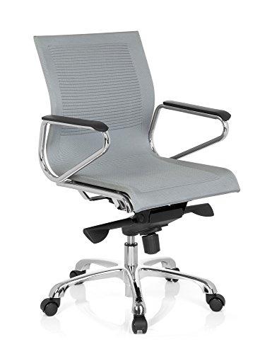 hjh OFFICE 660601 Bürostuhl ASTONA Stoff Grau Schreibtischstuhl mit Armlehnen und Wippfunktion
