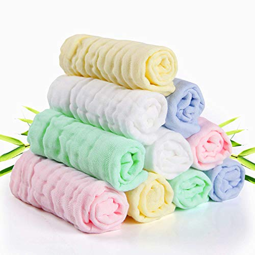 Set da Mussole Neonato, Asciugamani per Neonato, Asciugamani morbidi neonato, asciugamani neonato bamboo, 100% Cotone Mussolino Bavaglino Tovagliolo Fazzoletto Salviettine 10pcs 30 * 30cm